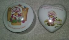 Vintage 1980 Strawberry Shortcake Porcelain Round And Heart Trinket Box Lot Of 2