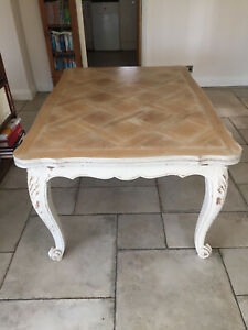 Vintage French Oak Table, Extending 4/6 Seater Parquet Top Dining Table.