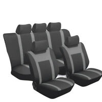 Breathable mesh Car Seat Cover front + rear black & gray four seasons Universal