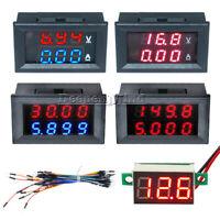 DC 0-200V 100V 10A 3Bit /4Bit Voltmeter Ammeter Red+Red/ Red+Blue LED Amp Wires