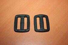 Accessoire Maroquinerie 2 Boucles de réglage plastique noir passage sangle 25mm