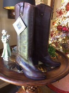 FRYE Brown Pebbled Leather Tall Boots Shoes Size 8.5 M, New