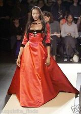 A/W 1999 ICONIC OSCAR DE LA RENTA SABLE TRIMMED RED DRESS GOWN