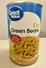 18 CANS Lot Great Value Vegetables - Fresh Cut Green Beans Exp 2022 14.5 oz