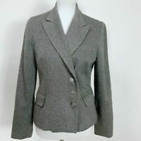 Boston Proper Size 8 Tweed Blazer Jacket Gray Wool Blend Fitted Casual