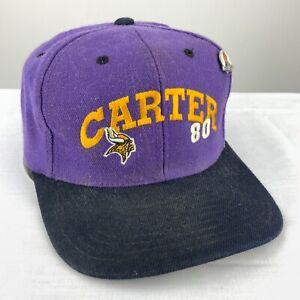 Cris Carter #80 Minnesota Vikings Vintage Snapback Hat Adjustable Purple NFL 90s