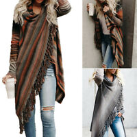 Womens Irregular Tassel Cardigan Sweater Poncho Shawl Coat Tops Outwear oversize