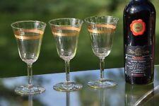 Vintage Gold Rimmed Encrusted Wine Glasses, Set of 4, Antique Wine Glasses