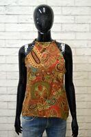 RALPH LAUREN 100% SETA Donna Blusa Vintage Maglia Taglia M Camicetta Shirt Slim