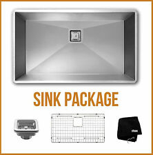 """30"""" inch Undermount Single Bowl Stainless Steel Kitchen Sink Zero Radius Package"""