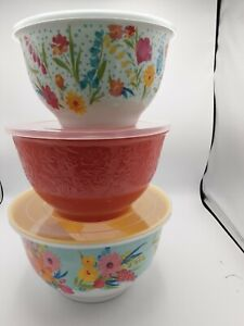 The Pioneer Woman Melamine Bowls With Lid Set Of 3 Sunny Days
