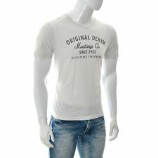 Mustang Jeans Original True Denim Mens Graphic T-Shirt Size L Tailored Fit White