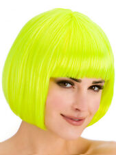 Ladies Diva Pelo Corto Amarillo Bob Peluca Franja Discoteca Fancy Dress Hollywood 1980s