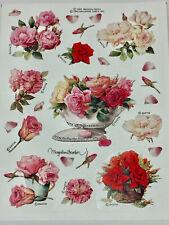 Marjolein Bastin Floral Sticker Sheet Vtg Hallmark Lovely Roses Peonies Mint