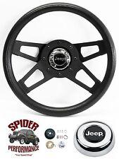 """1967-1975 CJ5 CJ6 steering wheel JEEP 13 1/2"""" BLACK 4 SPOKE steering wheel"""