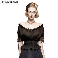 US location Rave Rave Summer Top Gothic Steampunk VTG Boho Victorian T-shirt Top