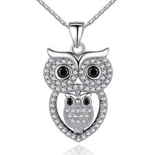 2015 New Fashion Owl Pendant Necklaces With AAA Austrian 18K White Ziron Jewelry
