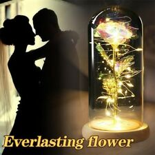 24K Gold Plated Dipped Rose Flower in glass dome Romantic Gift Love-.