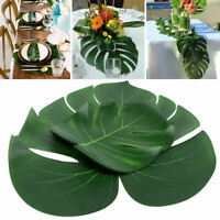 24X Tropical Hawaiian Artificial Palm Leaves Jungle Foliage Luau Party Decor US