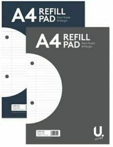 A4 Page Lined Ruled Paper Refill Pad Notepad Note Notebook 54gsm Sidebound