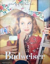 Vintage 1958 Budweiser Beer Girl On Ladder Painting Print Ad Art