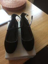 Carvela Black Suede Court Shoe With Sparkle Detail To Front. Size 5. Flat Heel.