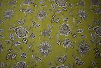 "Linen Cotton Fabric Olive Green Floral Print 55"" Upholstery BTY Natural Fiber"