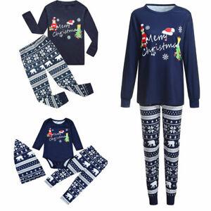Family Xmas Matching Pajamas Adult Kids Dog Christmas Pyjamas Nightwear PJs Sets