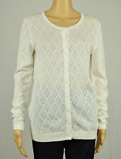 Tommy Hilfiger Womens White Slim-Fit Button-Down Cardigan Sweater S