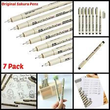 Pen Set Original Sakura Pigma Micron Needle Black Archival Acid Free Pens 7 Pack
