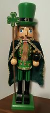 "St Patricks Day Nutcracker Irish Leprechaun Wooden Shamrock 15"" Christmas NEW"