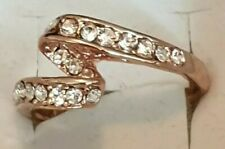 Fashion Jewellery rose gold plated ring with stones size 9