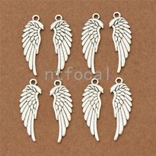 8pcs Unisex Vintage Angel Wings Silver Pendants DIY Necklace Jewelry Making Bead