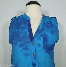 DRESSBARN Tye-Dye Blue Sleeveless Top Women's size L