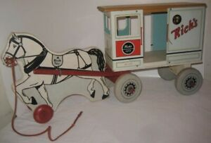 Old Wood & Tin Rich Toy Horse Drawn CITY DAIRY Milk Wagon Pull Toy Clinton Iowa