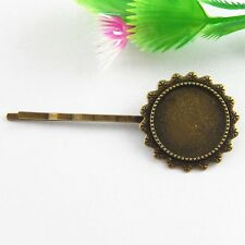 20pcs Antique Bronze Alloy Cameo Setting 20mm Hair Clips Jewellery Crafts 51544