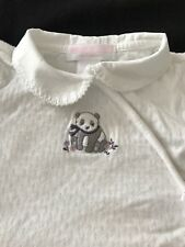 Janie and Jack White Cotton Knit Panda Footie - 6-9 Months