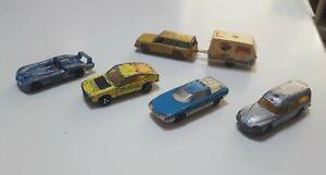 Lot de 5 voitures et caravane Majorette anciennes vintages lot petites voitures