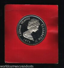 CAYMAN ISLANDS 5 DOLLARS 1974 QUEEN PROOF SILVER COIN MONEY CARIBBEAN