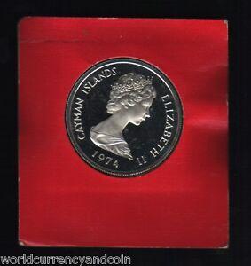 CAYMAN ISLANDS 5 DOLLARS 1974 QUEEN PROOF SILVER COIN MONEY CARIBBEAN
