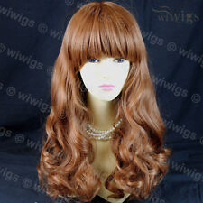 Gorgeous Layered Light Auburn Wavy Long Ladies Wigs Skin Top From WIWIGS UK