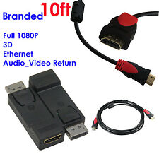 Display Port to HDMI Converter with Audio Adapter+Ultra 10FT HDMI w/Cores,1080P