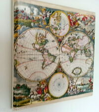 WALL Picture PLAQUE - VINTAGE/ RETRO style Handmade  OLD MAP DECOUPAGE Art Y/37