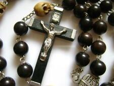 Wood Cross Black Ebony Rosary & Tibet Bone Skull crucifix catholic NECKLACE