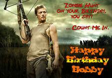 WALKING DEAD Darryl Dixon Personalised Happy Birthday Xmas Greeting zombie Card