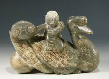 "5.2"" Exquisite Old Hand Made Carved Child Riding Goose Nephrite Jade Statue"