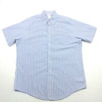 Brooks Brothers Mens 16.5 Button Down Shirt Blue White Striped Short Sleeve