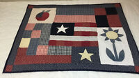 Country Quilt Wall Hanging, Patchwork, Apple, Star, Flag, Flower, Calico Prints