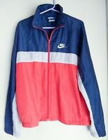 Vintage Nike BLUE TAG 80's Sz LARGE Color Block Jacket Red Gray Blue Windbreaker