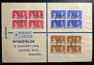 1937 Barbados First Day cover FDC To England Coronation Of king George VI Block